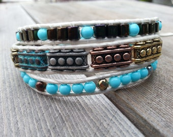 Turquoise and White Leather Beaded Wrap Bracelet FREE SHIPPING