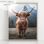 Highland Cow Wall Art, Scotland Highland Cow Print Download, Boho Animal Prints, Scotland Cow Art, Highland Cow Digital Print Cow With Horns