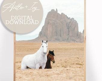 Desert Horses Wall Art, Horses Wild Desert Print Download, Boho Animal Prints, Horses Boho Art, Desert Animal Horse Digital Print Horse