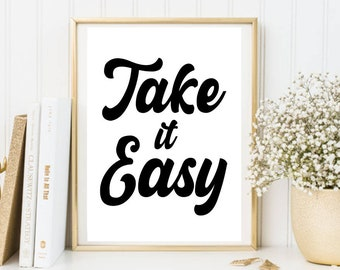 Take It Easy   Instant Download   Downloadable Print   Gallery Wall   Printable Retro Throwback 90s 80s 70s 60s 50s Print Vintage