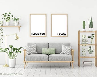 """CUSTOM Listing for jcoley77 - STAR WARS I Love You - I Know - 20"""" x 28"""" Size   Instant Download"""