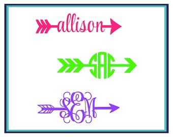 Arrow Name Decal- Arrow Monogram Decal- Arrow Car Decal- Arrow Window Decal- Monogram Name Decal- Window Decal- Yeti Decal