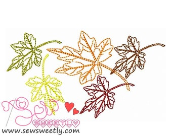 Falling Leaves Embroidery Design.