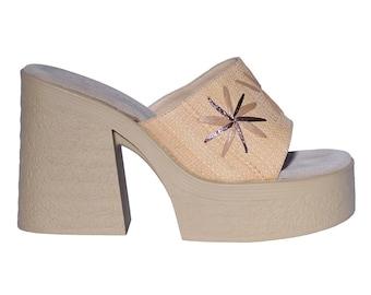 d2e551bbf5a4 90s Deadstock   Vintage Platform Chunky Heel ~ Woven faux leather Floral  Slide on Sandal