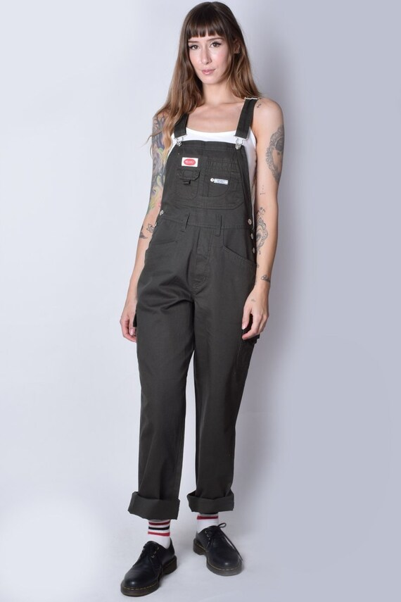 90s Deadstock Cargo Baggy Overall Pants - Army Gre
