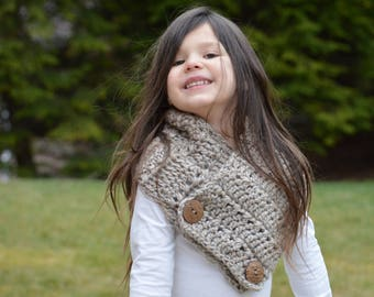 Crochet Cowl. Button Scarf. Made to Order. One size Child-Adult.