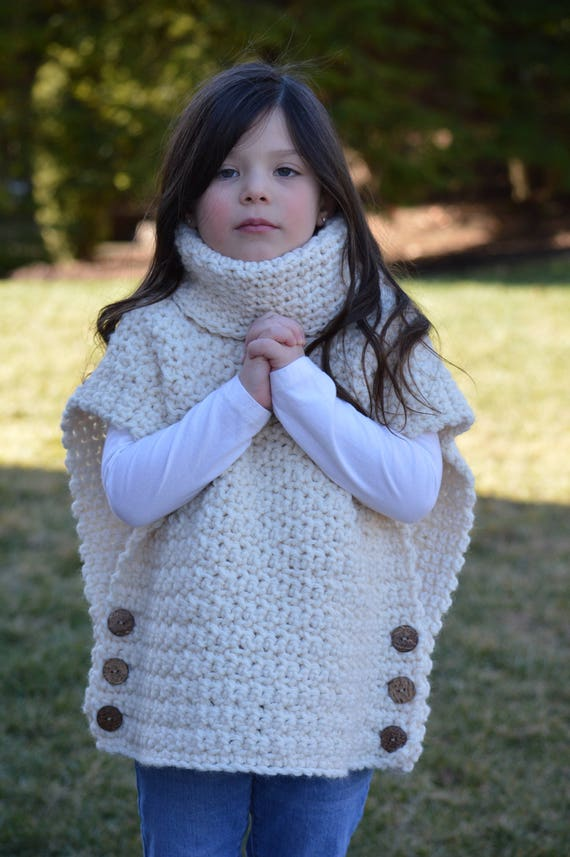 1ad99f7d2c9 Crochet Pullover Sweater with Cowl Neck and Button Closure.