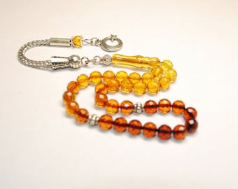 Amber Tasbih Islam Prayer Beads Tasbih Subha Genuine Baltic Amber 33 Round Faceted Beads Perfect Cut Best Quality