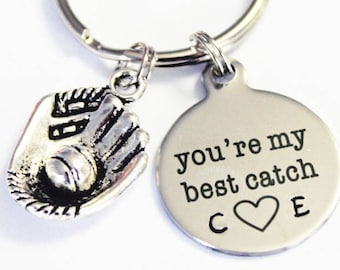 Youre My Best Catch Gift For Him Her Couples Anniversary BASEBALL Keychain Mitt