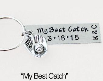 My Best Catch Personalized Keychain With Initials.  My Best Catch.  Baseball.  Anniversary Keychain.  Wedding Keychain.  Baseball Keychain.