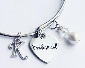 Bridesmaid bracelet. Bridesmaid Gift. Initial Bracelet. Wedding Party Gift. Bridesmaid. Bangle Bracelet