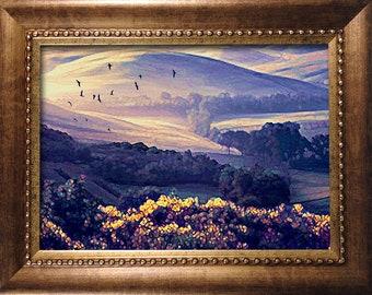 Framed Print -Tuscan Dawn Landscape - 4in x 6in