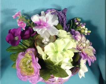 Floral Arrangement with Bird Nest in Lavender Painted Woven Basket