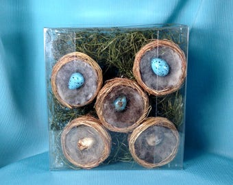 Set of Five 2inch Birdnest Ornaments