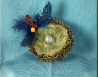 Decorative Moss Flocked Bird Nest with Redwing Thrush Egg - 4 inches