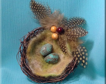 Decorative Brown Twig Bird Nest with Redwing Thrush Eggs - 3 inches