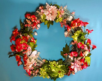 Large Spring Wreath with Pink, Red and Green Flowers