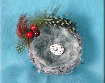 Decorative White Flocked Bird Nest with Swallow Eggs - 3 inches