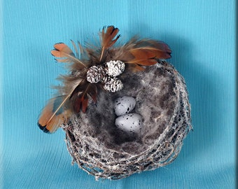 Decorative White Flocked Bird Nest with Warbler Finch Eggs - 3 inches