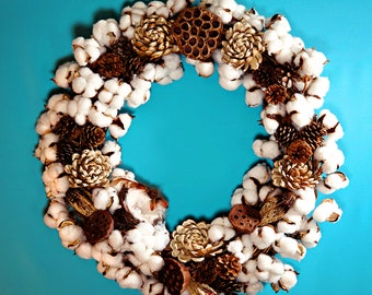 Large Cotton Wreath with Pine Cones and Natural Botanicals