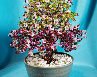 Beaded Bonsai Tree  Wire Sculpture - Green and Violet Flowering Tree