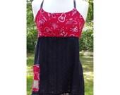 Patchwork festival hippy apron style shirt. Size S M. Cowboy western bandana fabric. free shipping