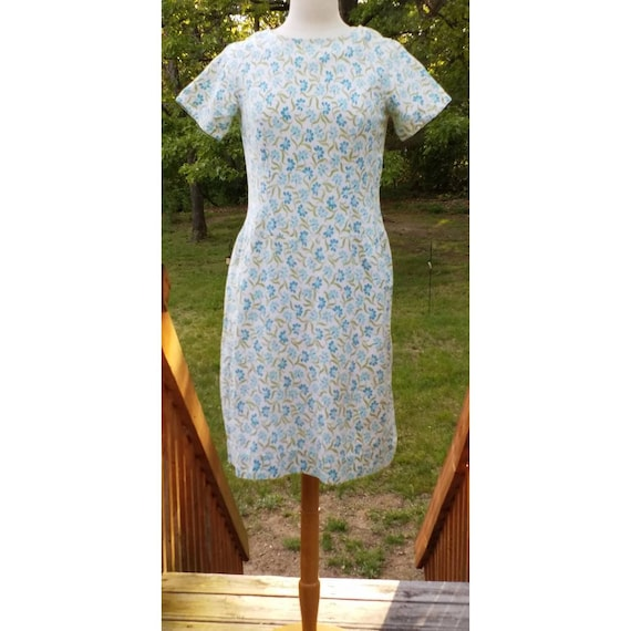 Vintage aqua floral feedsack dress.  Handmade.