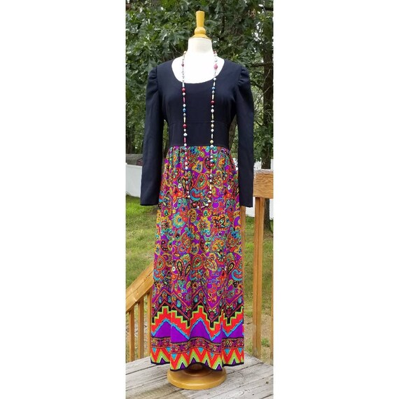 Vintage handmade maxi dress black with psychadeli… - image 1