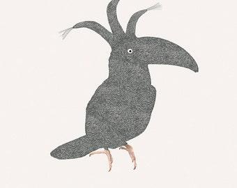 """Sleepy bird - Toucan - Illustration postcard 14,8cm x 14,8cm (5,8"""" x 5,8"""") / print 20cm x 25cm (7,9"""" x 9,9"""")"""