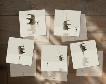 "Postcard Elephant Pinguin - Little blue hat - Set of 5 postcards - Illustration card 14,8cm x 14,8cm (5,8"" x 5,8"")"