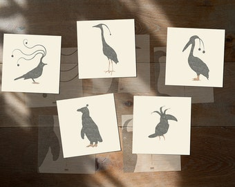 "Birds Art Postcards Cards - Sleepy birds - Set of 5 postcards - Illustration postcard 14,8cm x 14,8cm (5,8"" x 5,8"")"