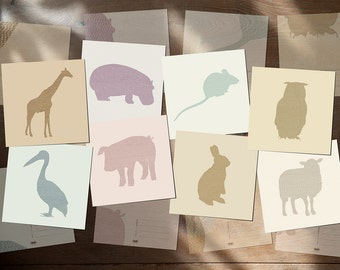 "Animal Postcards|Silhouettes - Set of 8 postcards - hippo,pig,sheep,giraffe,mouse,owl,pelican,rabbit card 14,8cm x 14,8cm (5,8"" x 5,8"")"