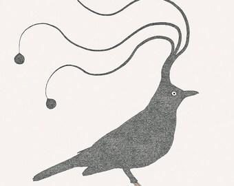 """Sleepy bird - Black bird - Illustration postcard 14,8cm x 14,8cm (5,8"""" x 5,8"""") / print 20cm x 25cm (7,9"""" x 9,9"""")"""