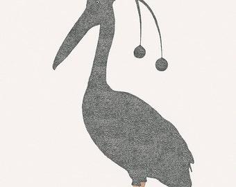 """Sleepy bird - Pelican - Illustration postcard 14,8cm x 14,8cm (5,8"""" x 5,8"""") / print 20cm x 25cm (7,9"""" x 9,9"""")"""