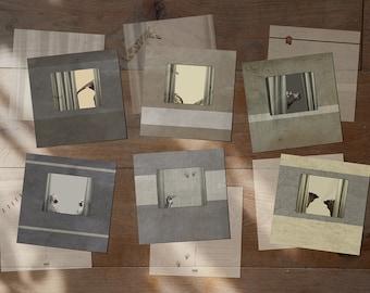 "Animal Cards - Train windows - Set of 6 postcards - Hippo Monkey Sheep Giraffe Pinguin Elephant postcard 14,8cm x 14,8cm (5,8"" x 5,8"")"