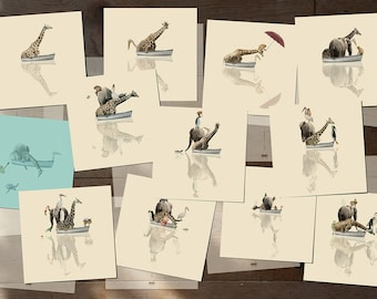 "Giraffe Boat Animals Cards - Journey - Set of 12 postcards - Illustration postcard 14,8cm x 14,8cm (5,8"" x 5,8"")"