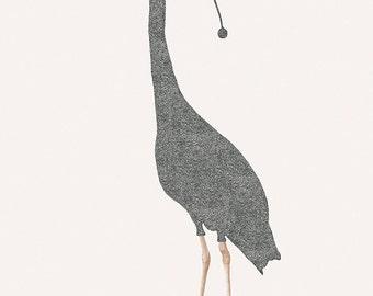 """Sleepy bird - Heron - Illustration postcard 14,8cm x 14,8cm (5,8"""" x 5,8"""") / print 20cm x 25cm (7,9"""" x 9,9"""")"""