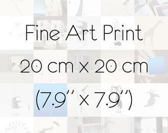 "Fine Art Print 20cm x 20cm / 7,9"" x 7,9"" Animals Choose any you like"