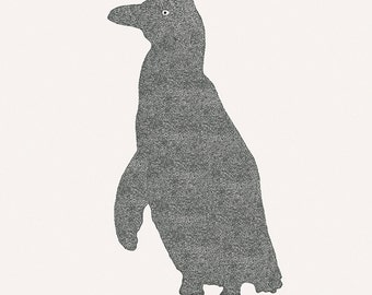 "Sleepy bird - Penguin - Illustration postcard 14,8cm x 14,8cm (5,8"" x 5,8"") / print 20cm x 25cm (7,9"" x 9,9"")"
