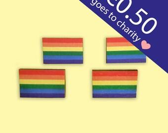 Pride Flag Pin - wooden pin, rainbow flag pin, pride wooden pin, lhbtq pin, lhbtq flag pin, rainbow pin, rainbow pride pin, gay pride pin