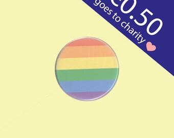 Rainbow Pride Button 38 mm - pride button, LGBT pin, rainbow pin, pride pin, pride badge, equality rights pin, LGBT rainbow badge
