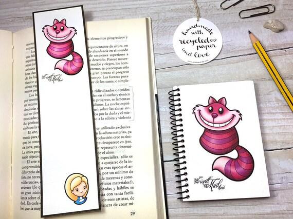 Chat De Cheshire Cat Rose Alice Recycle Favoris Carnet Etsy