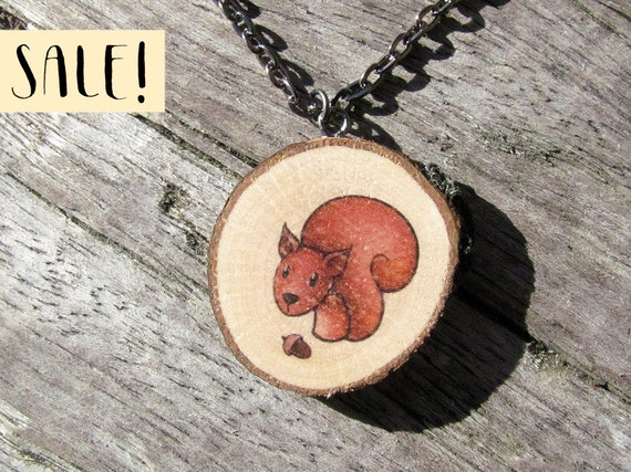 cute Red Squirrel necklace Antique long necklace Animal lovers gift vintage style necklace woodland Romantic