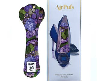 Hydrangeas by Moonlight Airpufs, Heel Insoles, Purple Floral cloud shoe cushions
