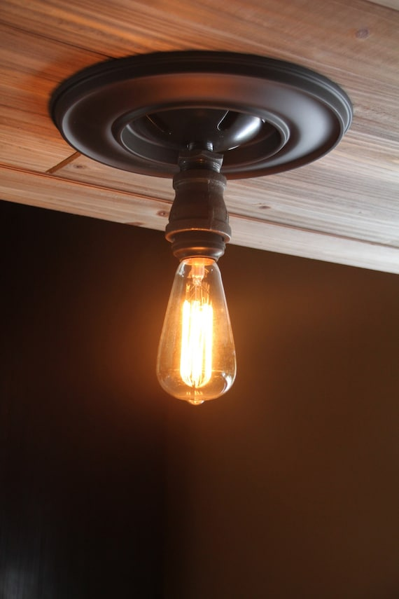 Single Light Industrial Hanging Pipe Ceiling Pendant Any Length Kitchen Or Bathroom Light