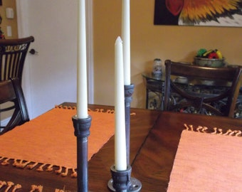 Set of Three Rustic candlestick Iron Pipe candle holders - Rustic Cottage Chic style