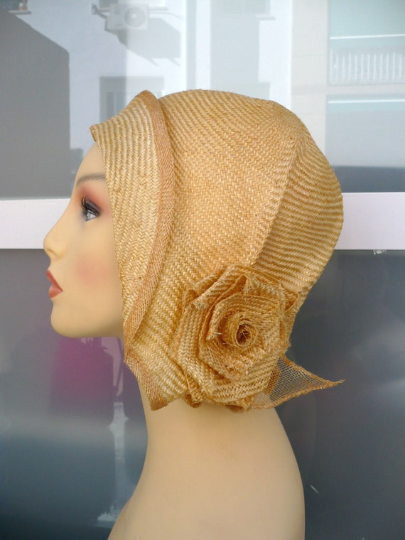 1930s Style Hats | Buy 30s Ladies Hats Summer cloche hat Summer hat 20s hat Sun hat Retro hat 20s style hat Vintage hat Handmade hat Wedding hat Event hat By size hat $132.58 AT vintagedancer.com