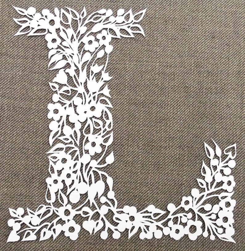 Papercutting Tempate Floral Letter Papercut Template PDF File image 3