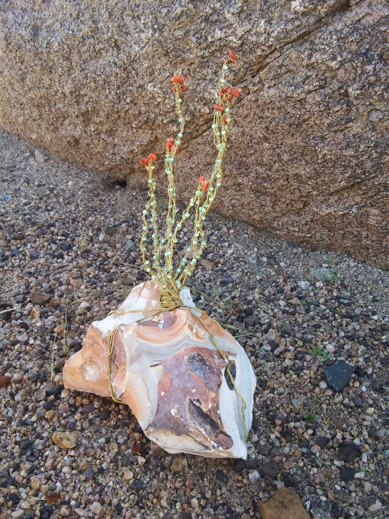 Wire wrap fiber optic glass brass and jaspet 3 d tree of life ocatillo cactus burro creek agate and pastelite sculpture