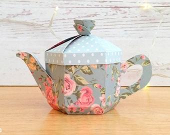 Teapot Favour Box SVG + PDF Template. Tea Party Gift Box. English Teapot Box. Cricut Cut File. Alice in Wonderland. Printable PDF Template.
